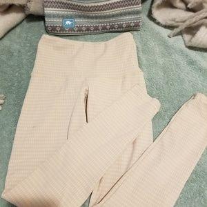 Unique beige pink warm leggins